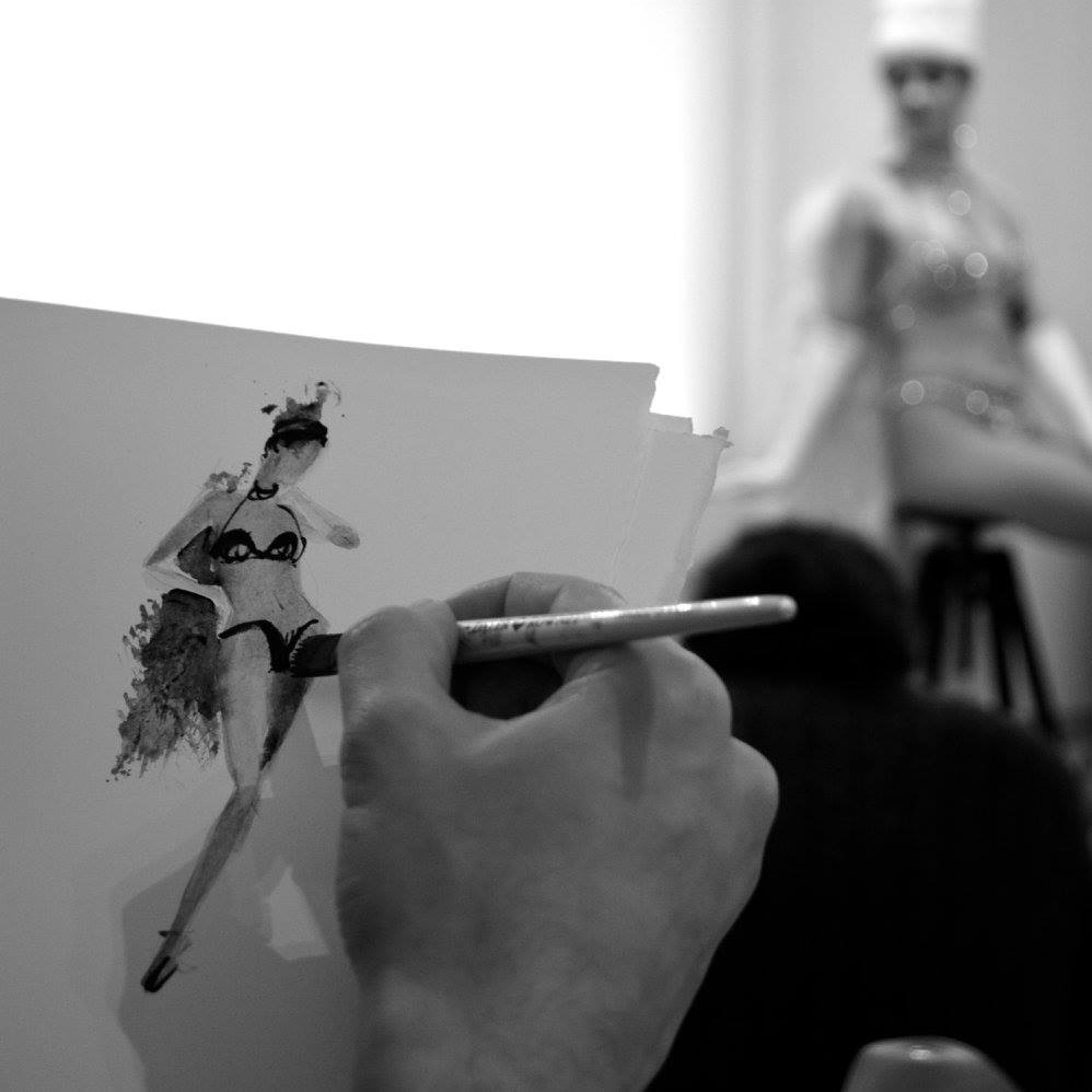Hossein Borojeni Fashion Illustration Lido Cabaret Live drawing